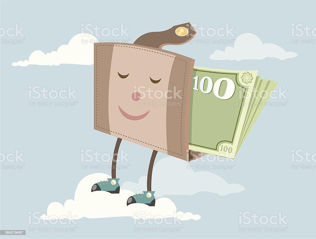 Happy wallet vector art illustration