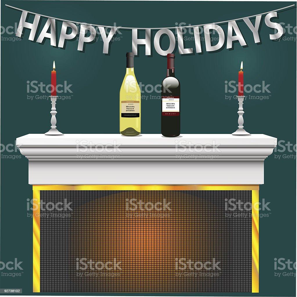 HappyHolidayScene, with Wine vector art illustration