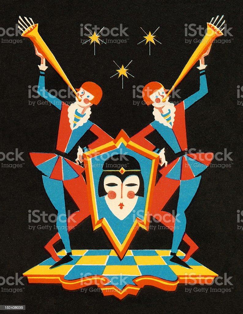 Harlequins Blowing Horns royalty-free stock vector art