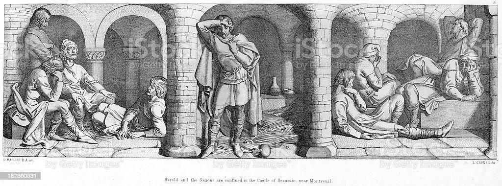 Harold Godwinson the prisoner royalty-free stock vector art