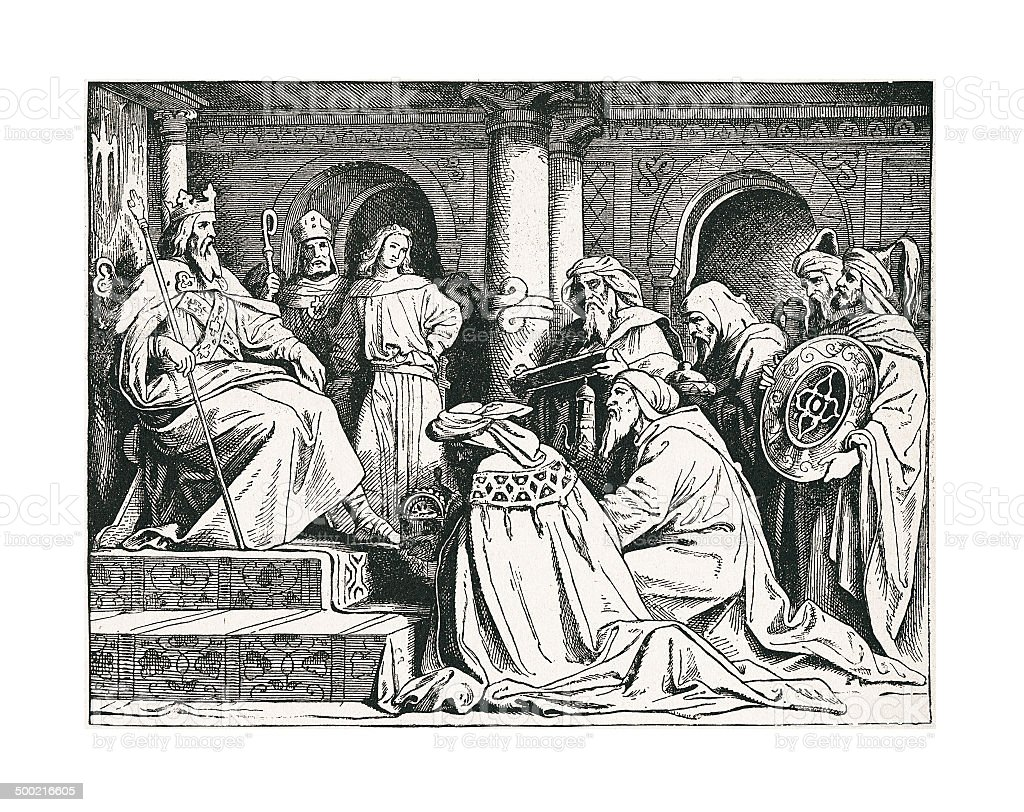 Haroun al Raschid's Presents (antique engraving) royalty-free stock vector art