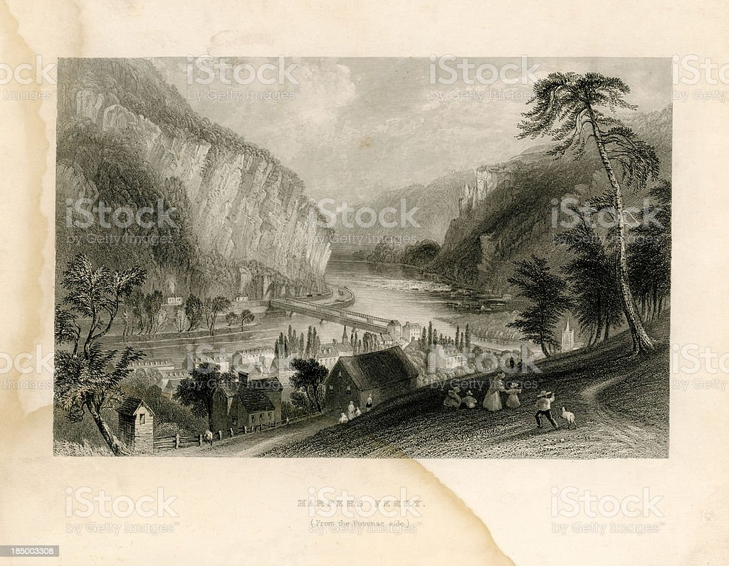 Harpers Ferry from the Potomac side (Geo Virtue 1839) vector art illustration