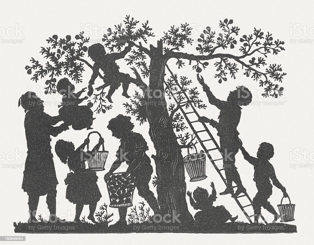 Harvest, paper-cut by Karl Fröhlich (1821-1898), published in 1854 vector art illustration