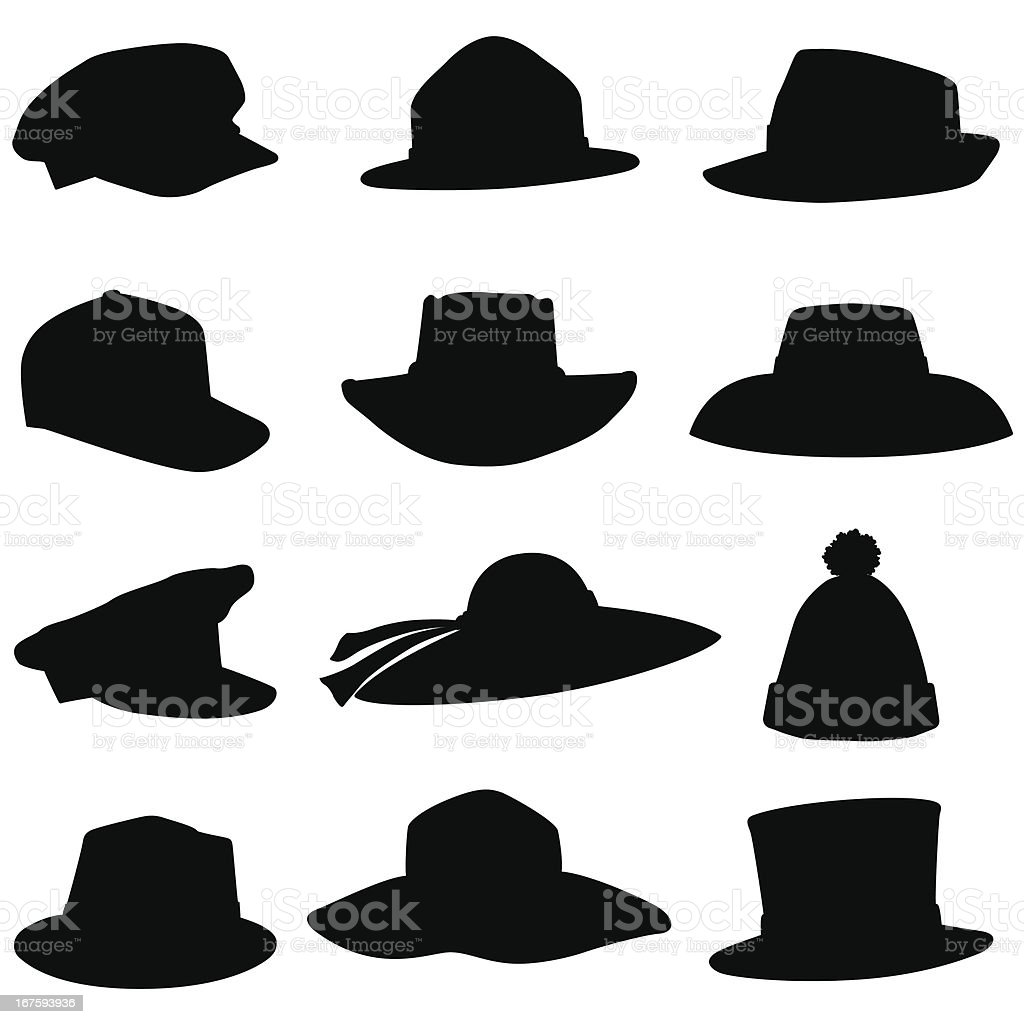 Hat Silhouettes vector art illustration