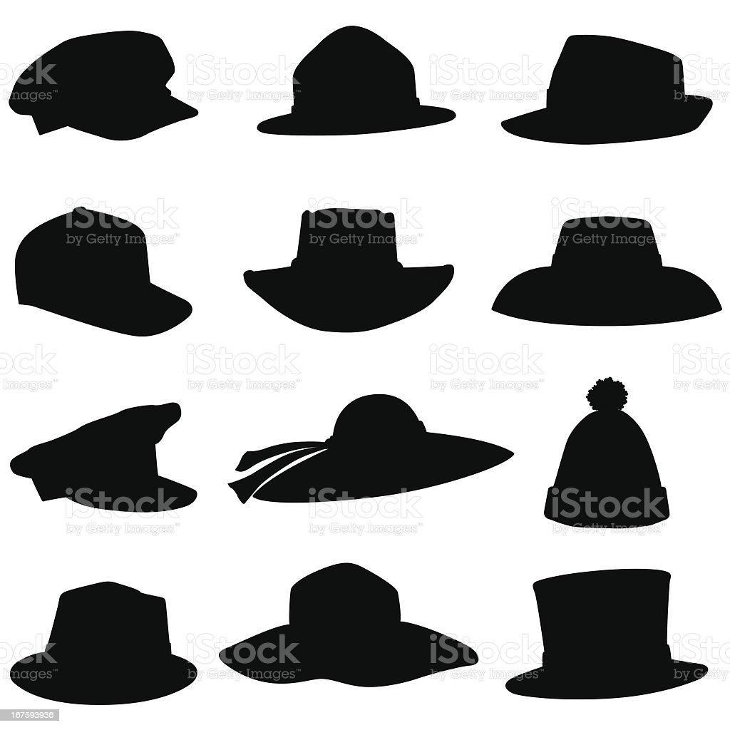 Hat Silhouettes vector art illustration