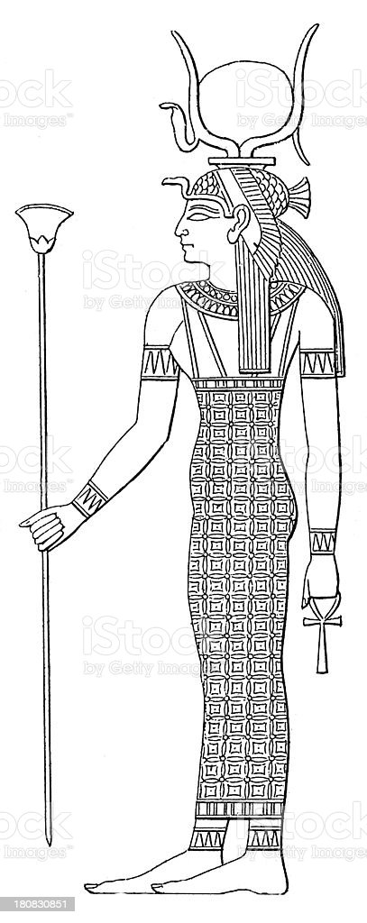 Hathor (antique wood engraving) royalty-free stock vector art