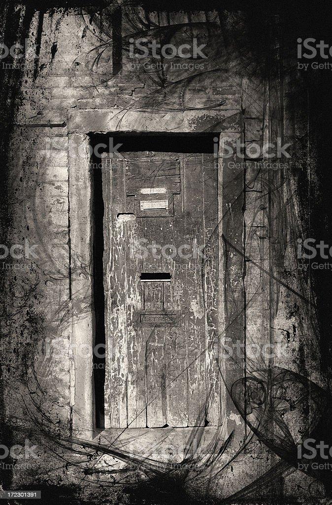 Haunted doorway vector art illustration