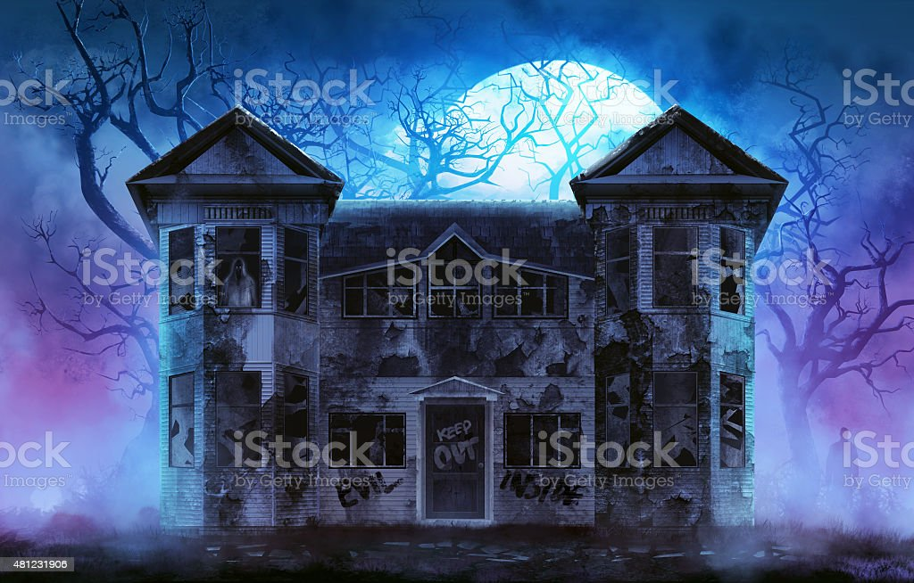 Haunted horror house. vector art illustration