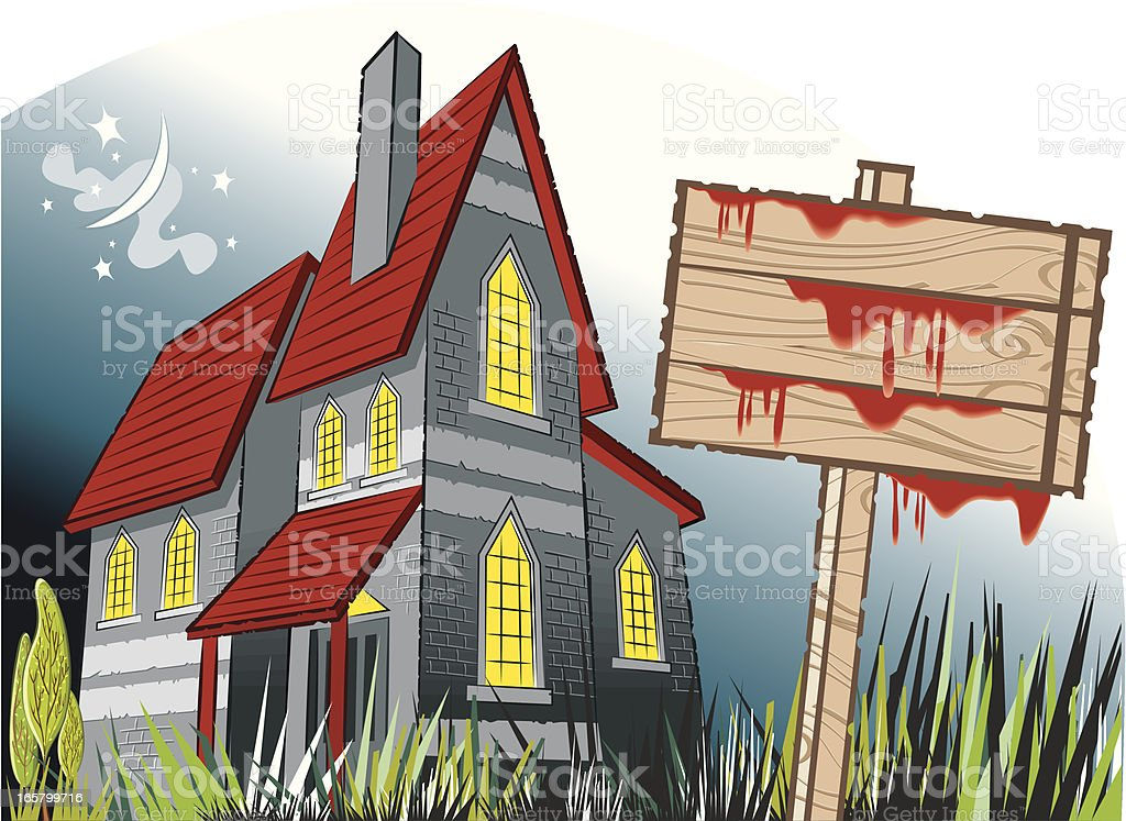 haunted house and creepy night 2 vector art illustration