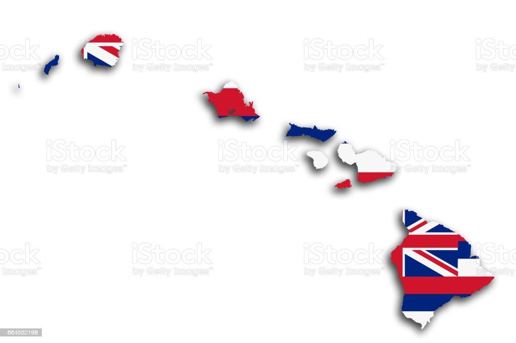 Hawaii map and flag vector art illustration