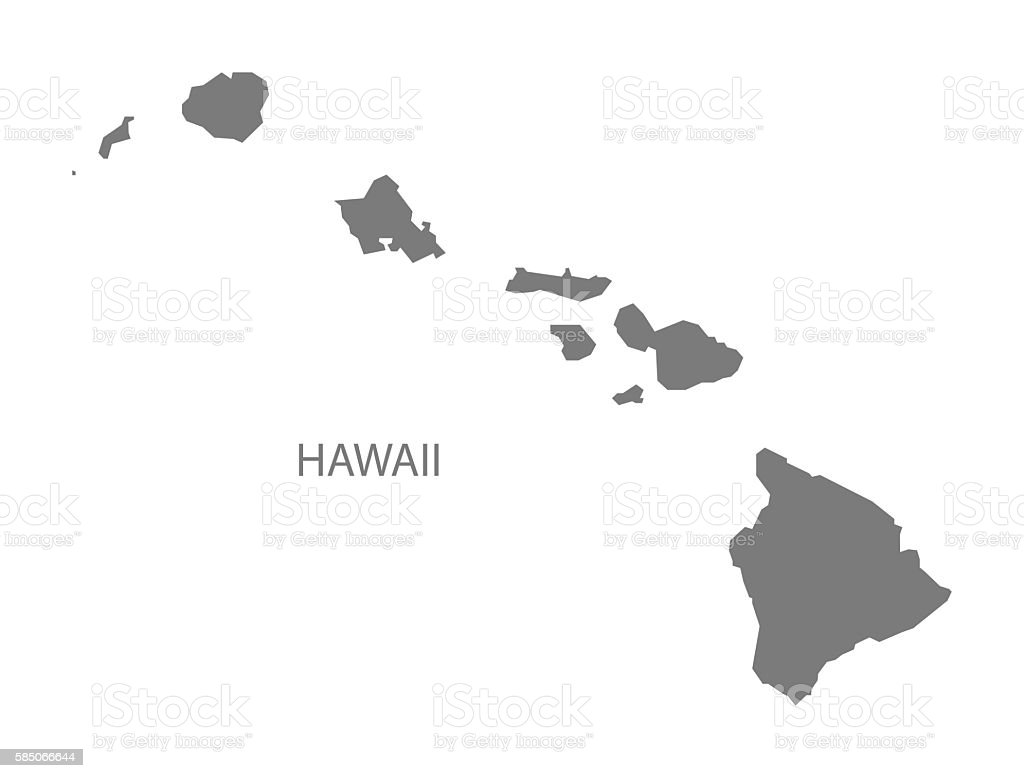 Hawaii USA Map grey vector art illustration