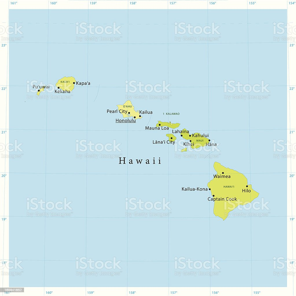 Hawaii Vector Map vector art illustration