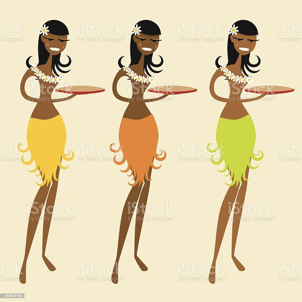 Hawaiian waitress royalty-free stock vector art