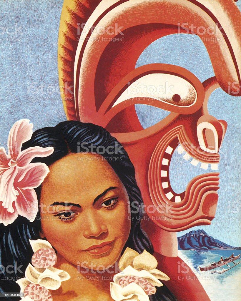 Hawaiian Woman With Tiki Figure vector art illustration