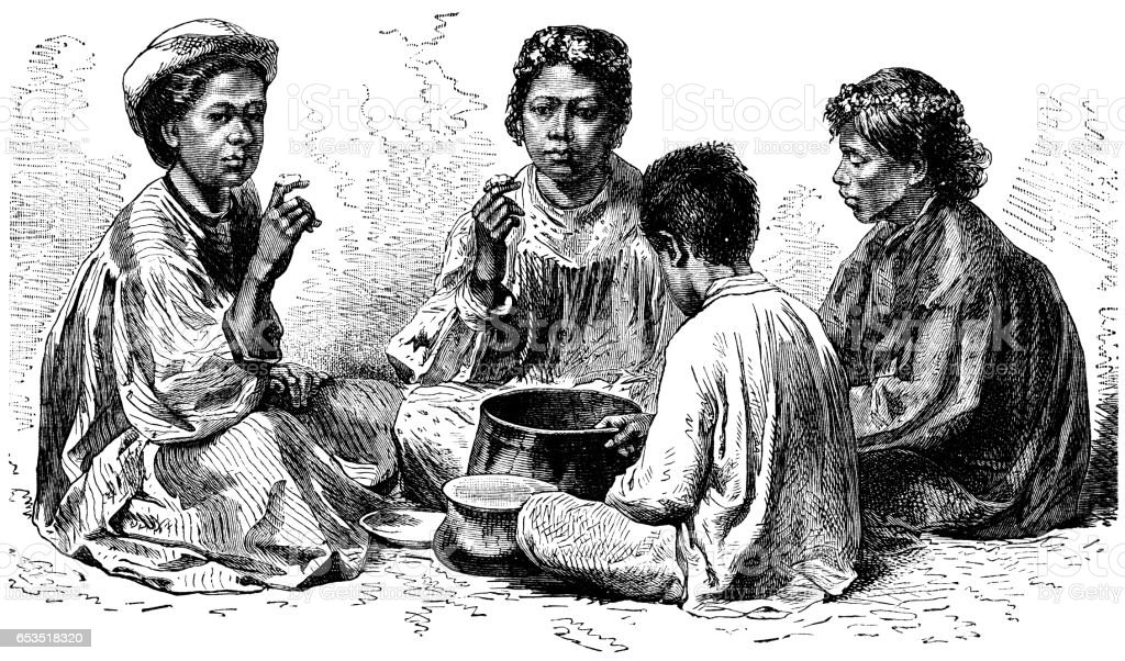 Hawaiians eating 'Poi' - Victorian engraving vector art illustration