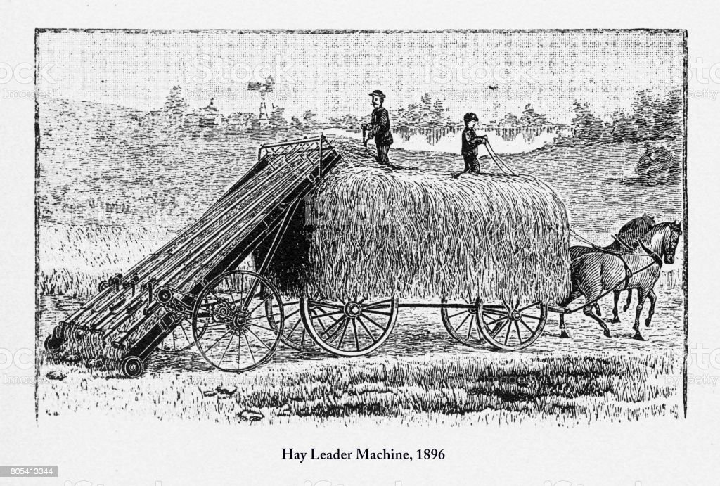 Hay Leader Machine, Early American Engraving, 1896 vector art illustration