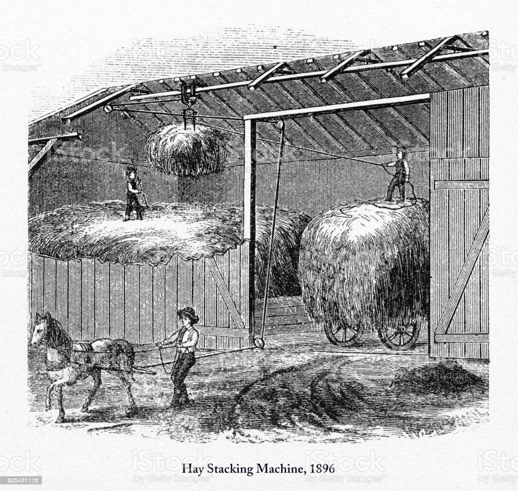 Hay Stacking Machine, Early American Engraving, 1896 vector art illustration