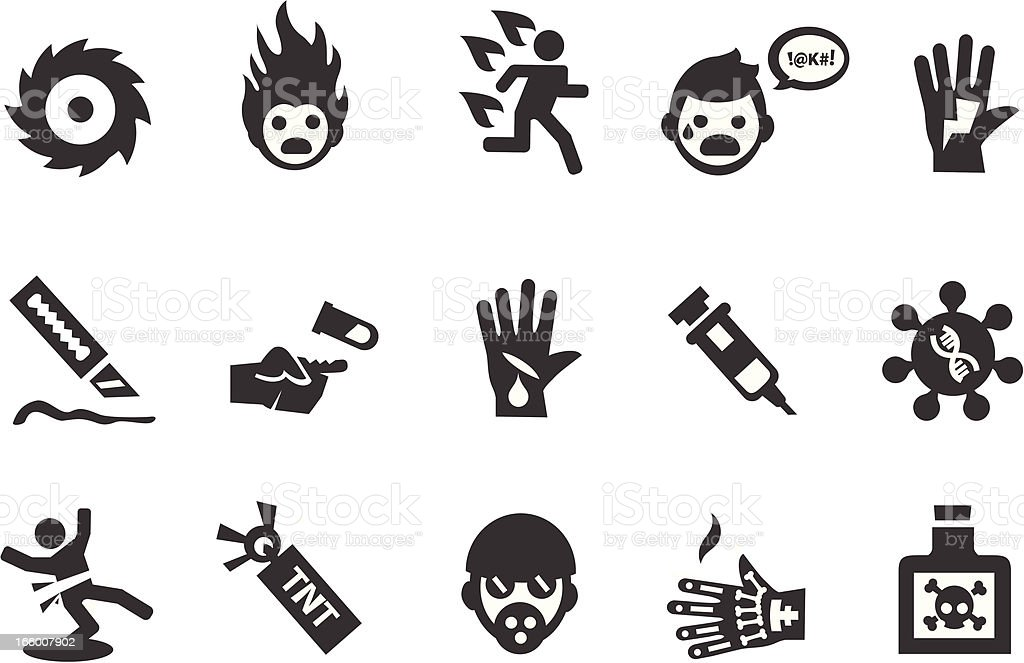 Hazard Warning Icons vector art illustration