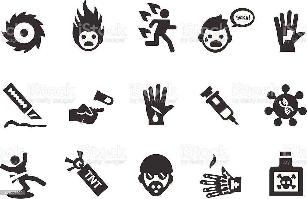 Hazard Warning Icons vector art illustration