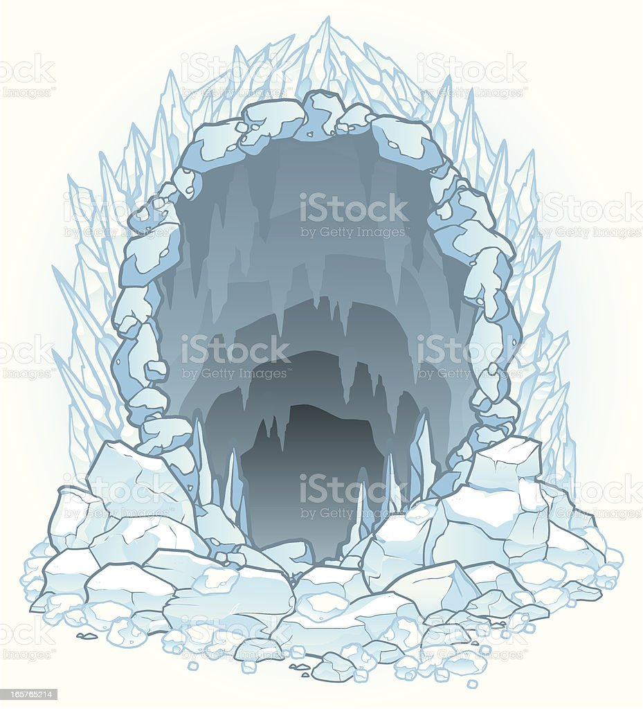 Hazardous Ice Cave vector art illustration