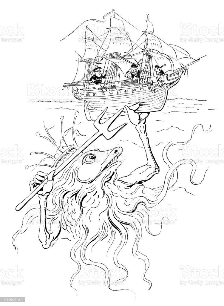 Hazards of navigation vector art illustration