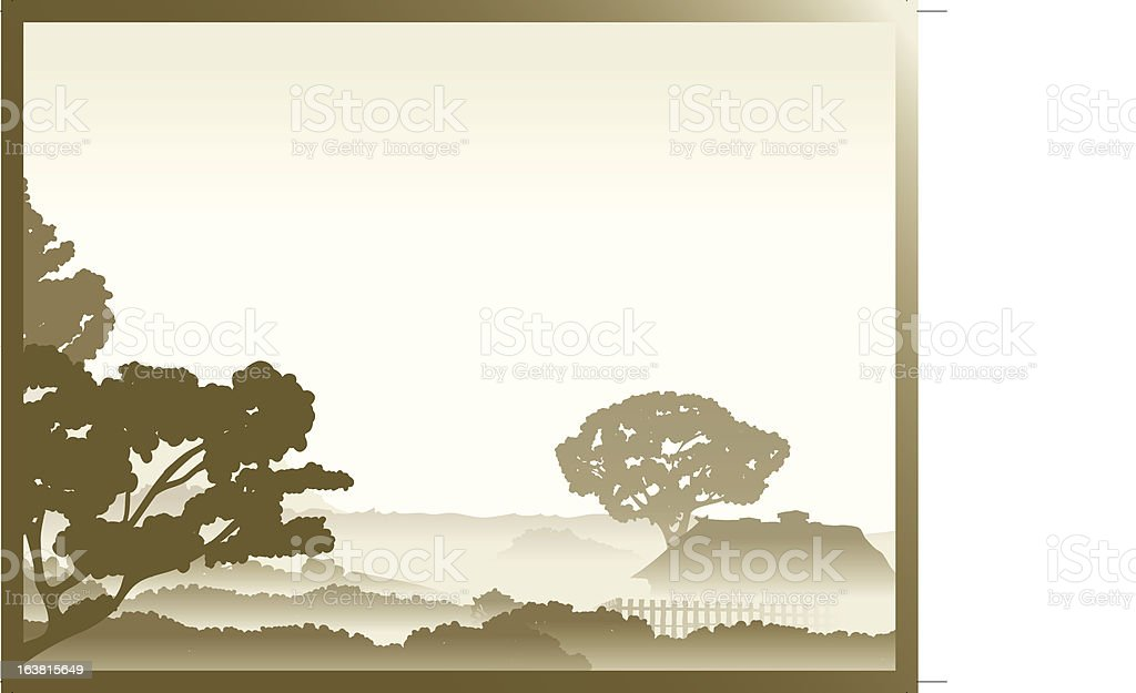 Hazy countryside landscape frame royalty-free stock vector art