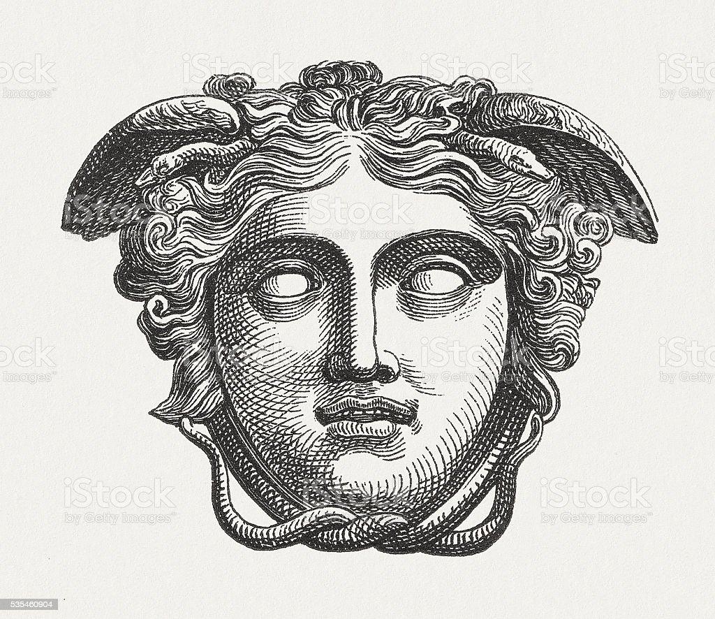 Head of Medusa, figure of the Greek mythology, published 1880 vector art illustration