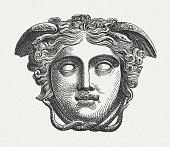 Head of Medusa, figure of the Greek mythology, published 1880
