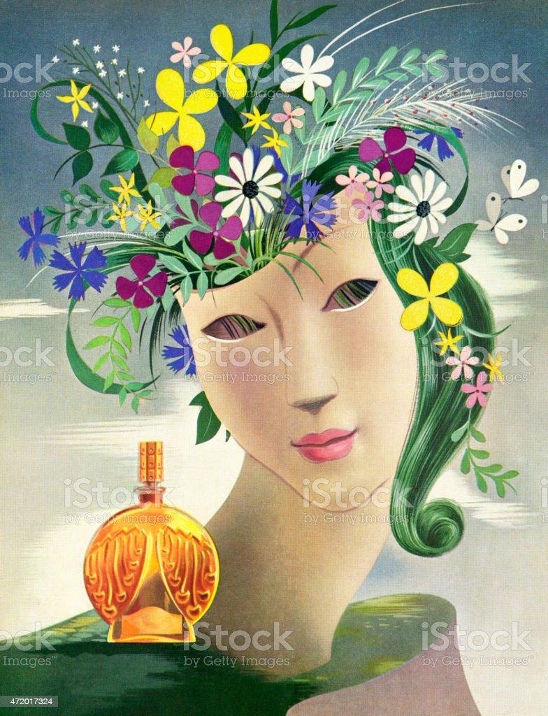 Head Vase With Perfume Bottle vector art illustration