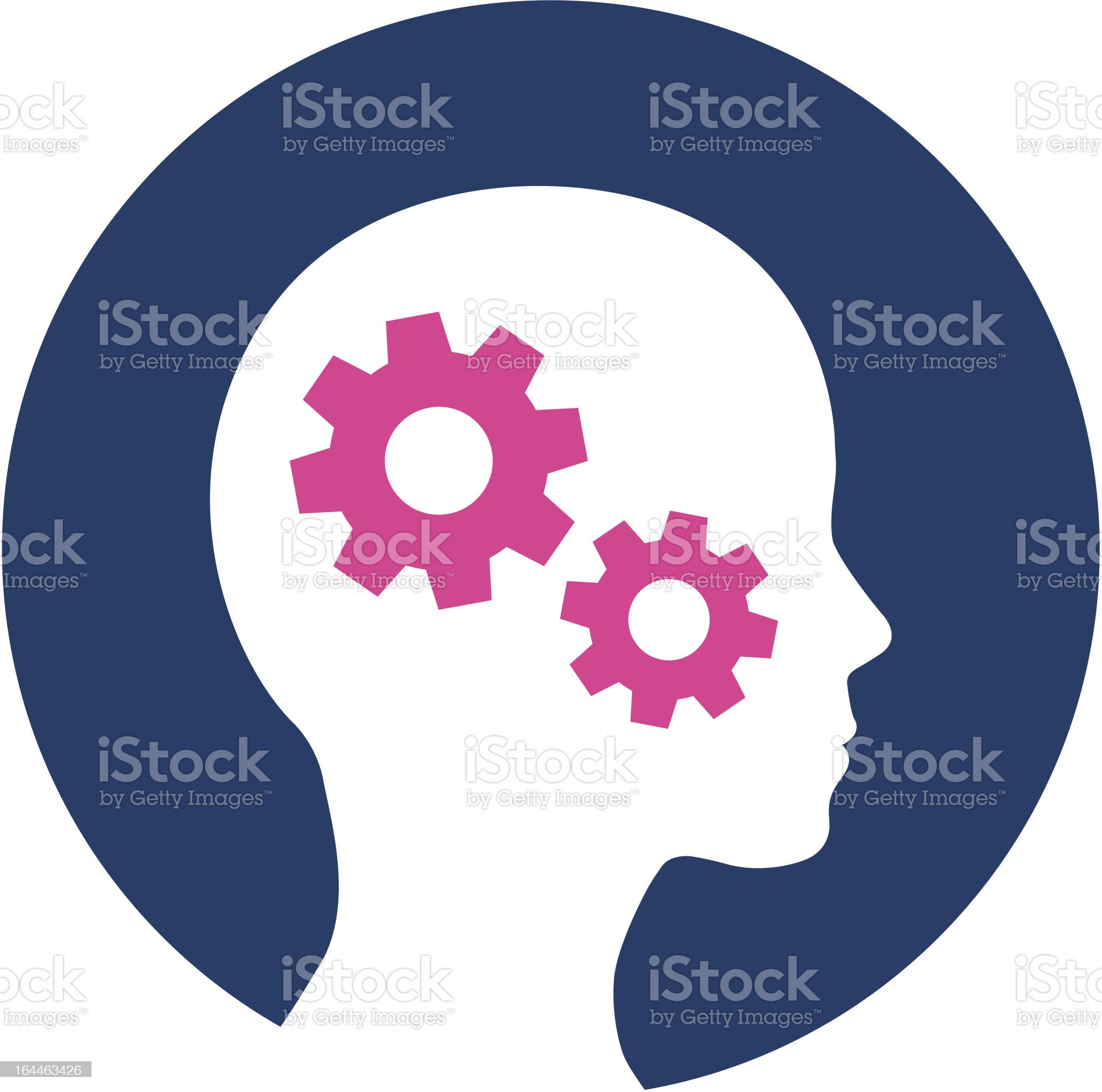 Head with working cogs illustration royalty-free stock vector art