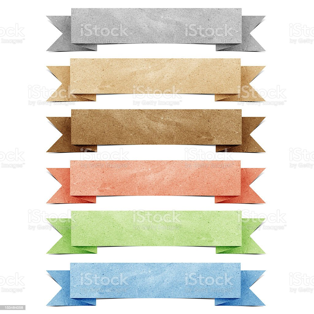 Header origami tag recycled paper craft royalty-free stock vector art