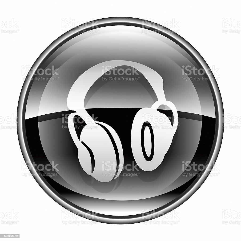 headphones icon black, isolated on white background. royalty-free stock vector art