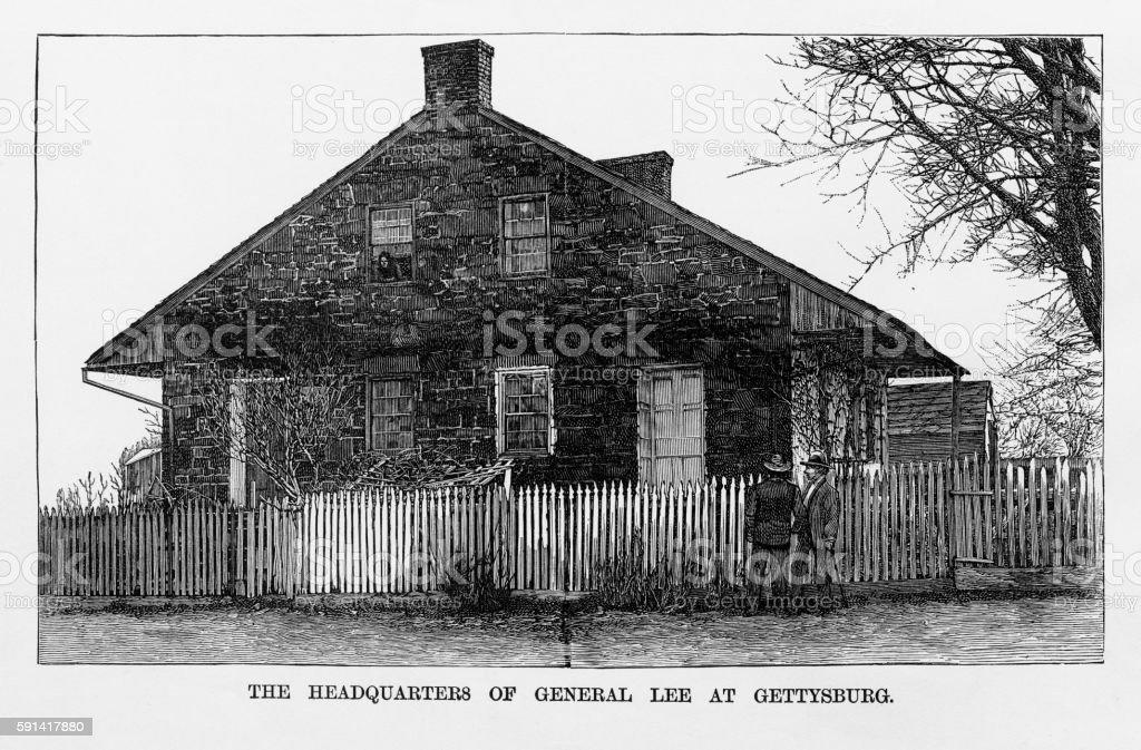 Headquarters of General Lee at Gettysburgs 1863 Civil War Engraving vector art illustration
