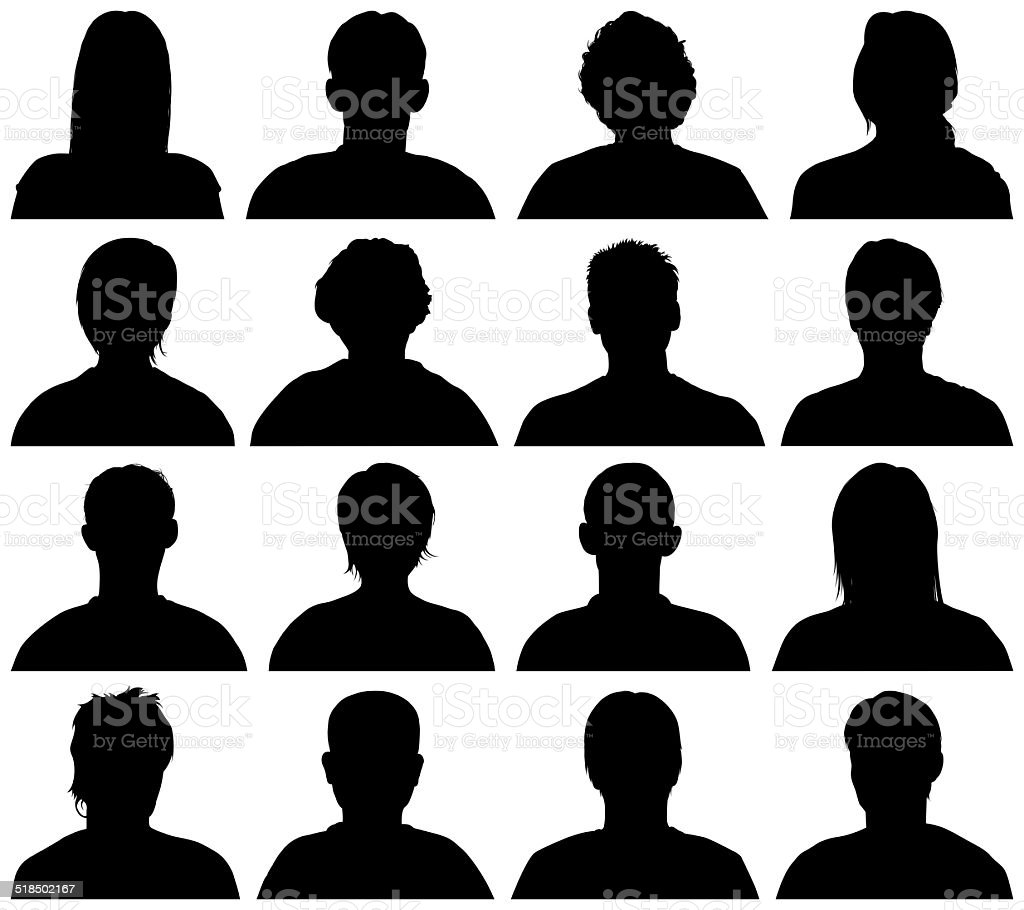 Heads and Shoulders Silhouettes vector art illustration