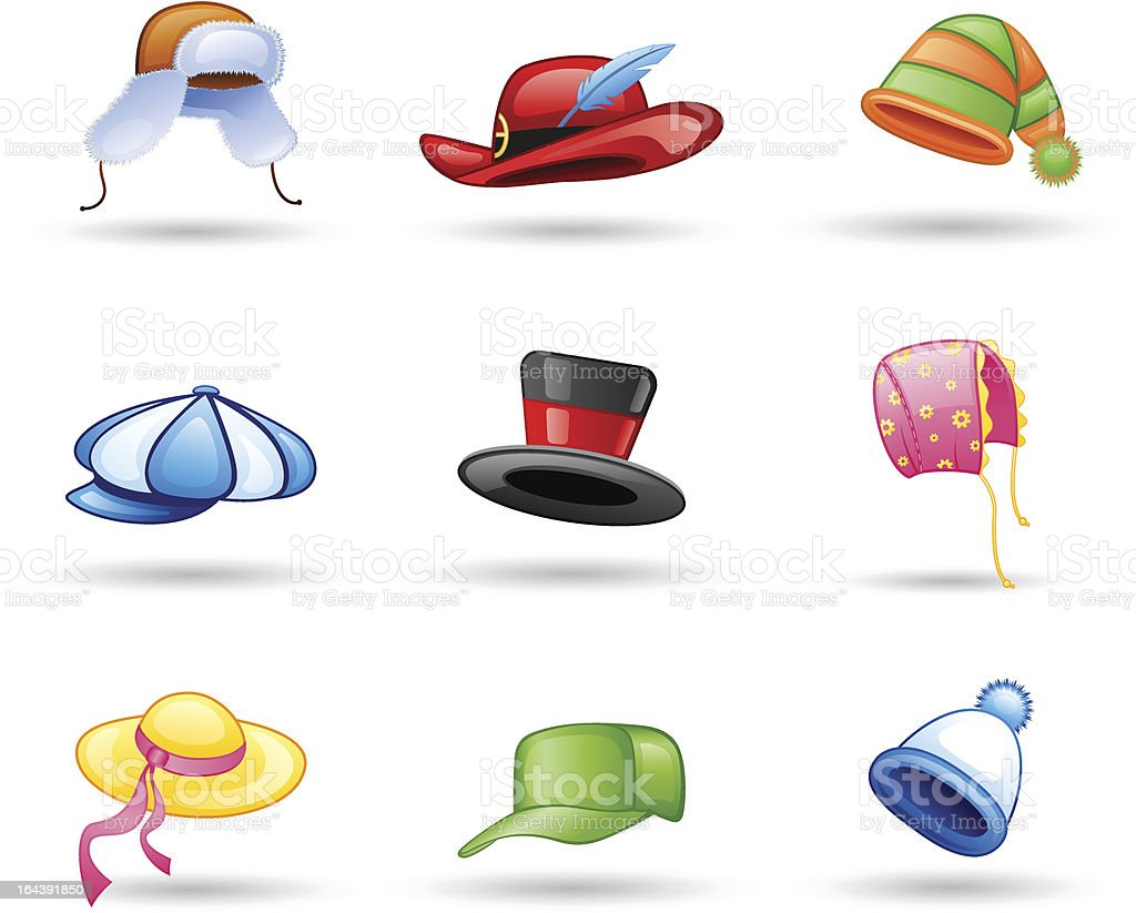 Headwear: cap, hat vector art illustration