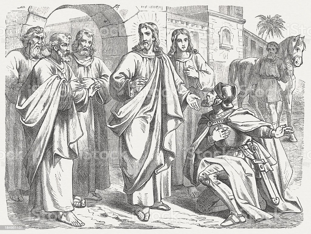 Healing the Centurion's Servant (Matthew 8), wood engraving, published 1877 royalty-free stock vector art