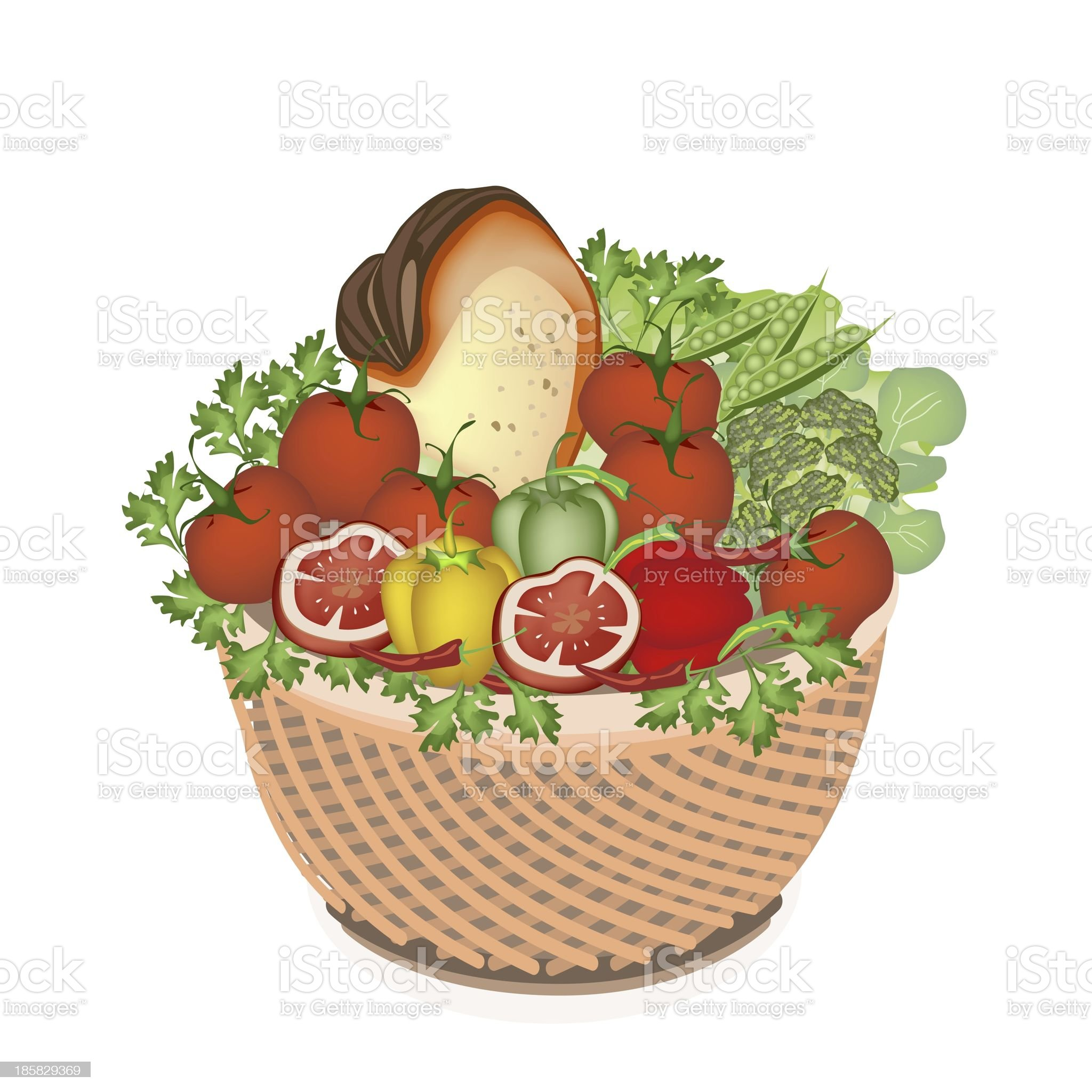 Health  Nutrition Vegetable and Food in Basket royalty-free stock vector art
