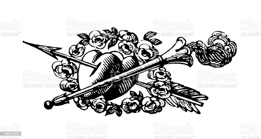 Heart and Arrow | Early Woodblock Illustrations royalty-free stock vector art