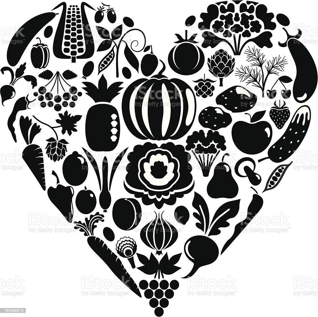 Heart from vegetables vector art illustration