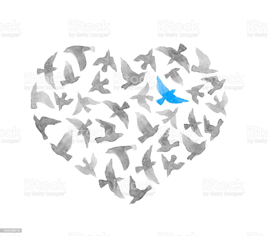 Heart - grey and lonly blue bird. Vintage watercolor vector art illustration