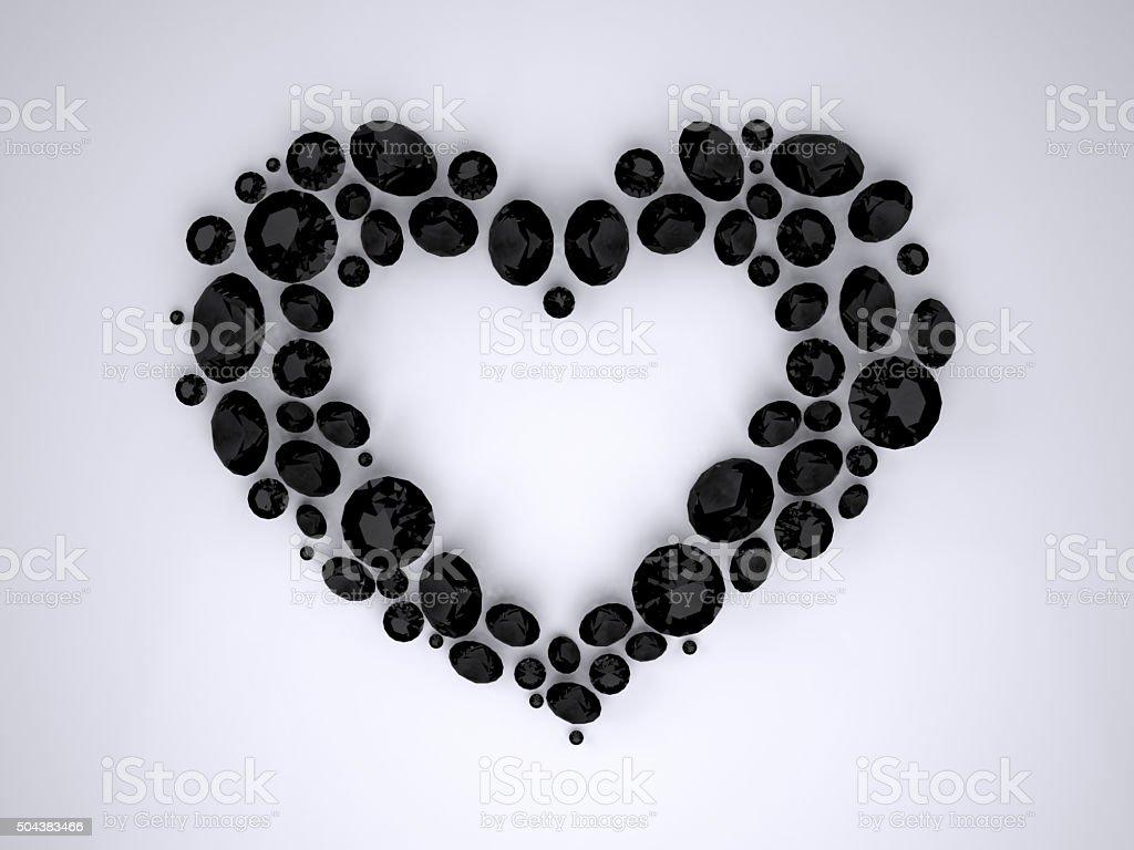 Heart of Black Diamonds vector art illustration