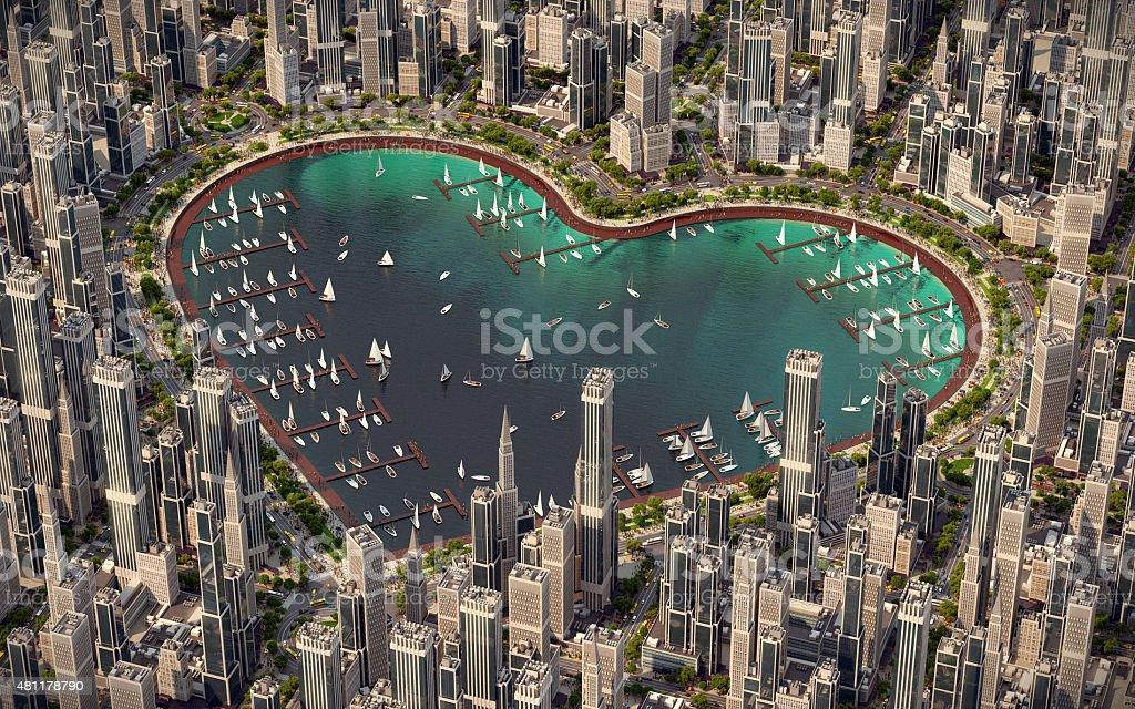 Heart of city vector art illustration
