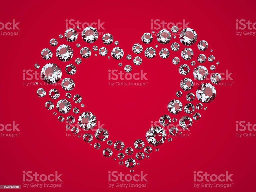 Heart of Diamonds vector art illustration