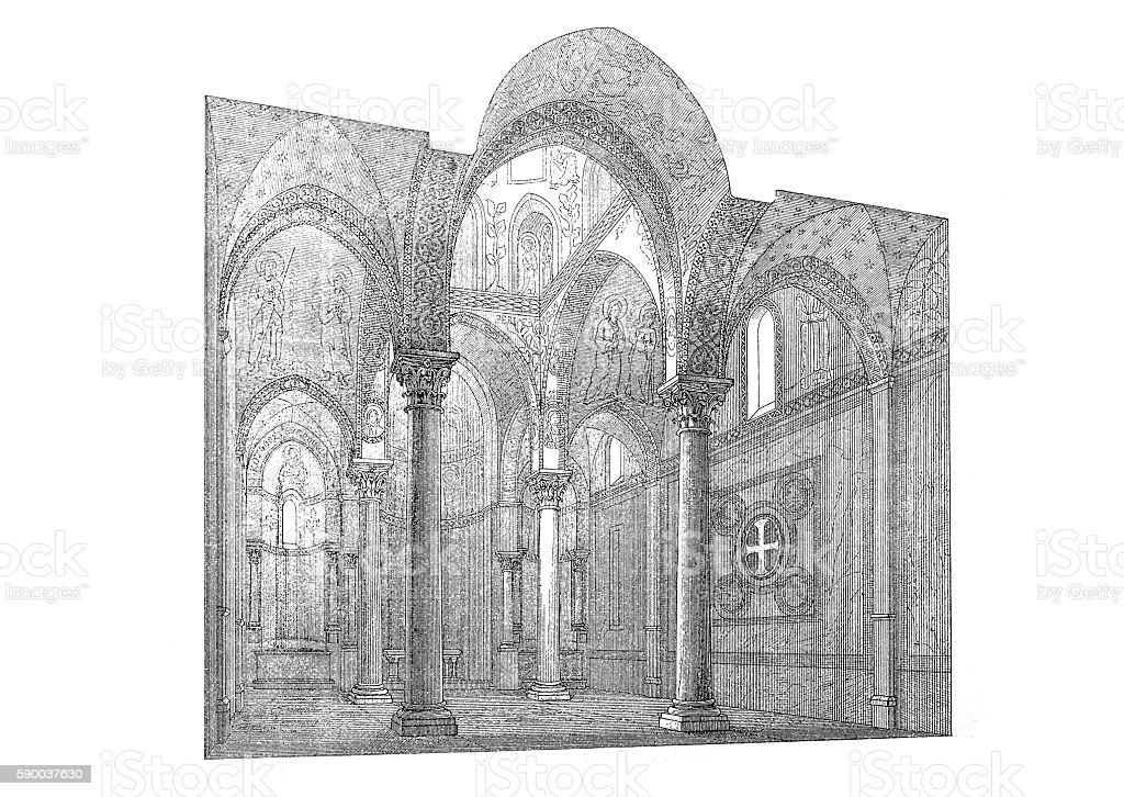 Heart of Martorana at Palermo vector art illustration
