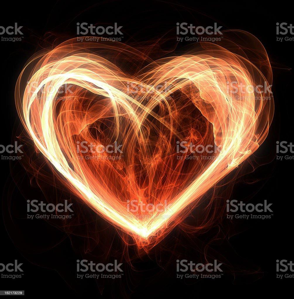heart on fire vector art illustration