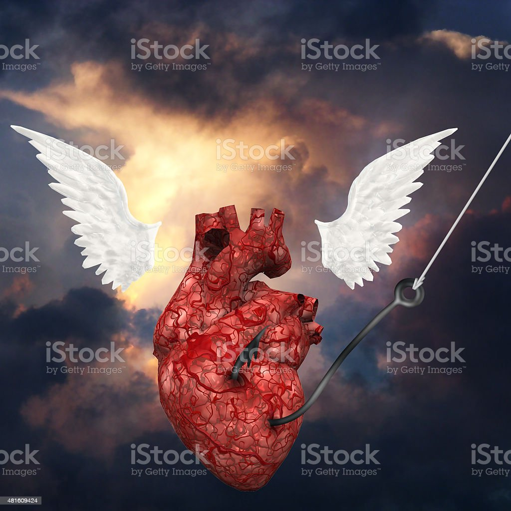 Heart pulled toward heavens vector art illustration