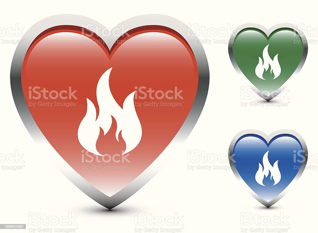 Heart Shape Fire Sign Icons vector art illustration