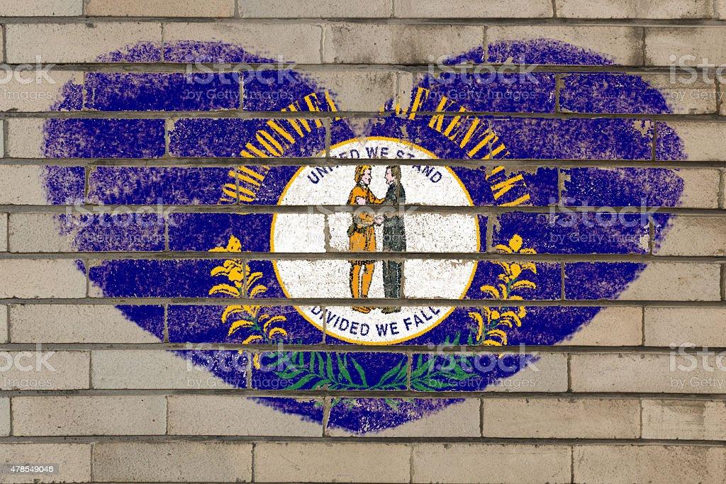 heart shape flag of kentucky on brick wall vector art illustration