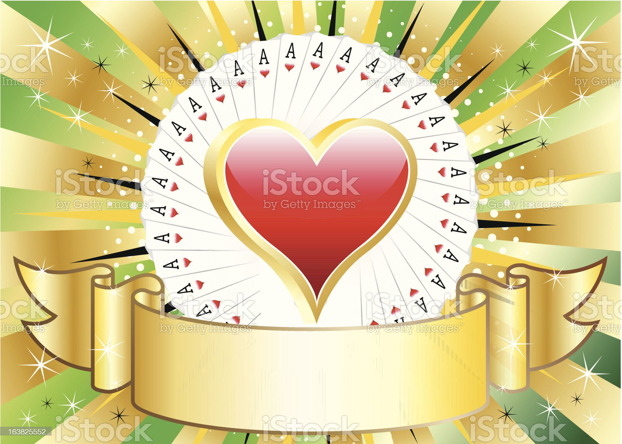 Heart Suit Gold Banner royalty-free stock vector art