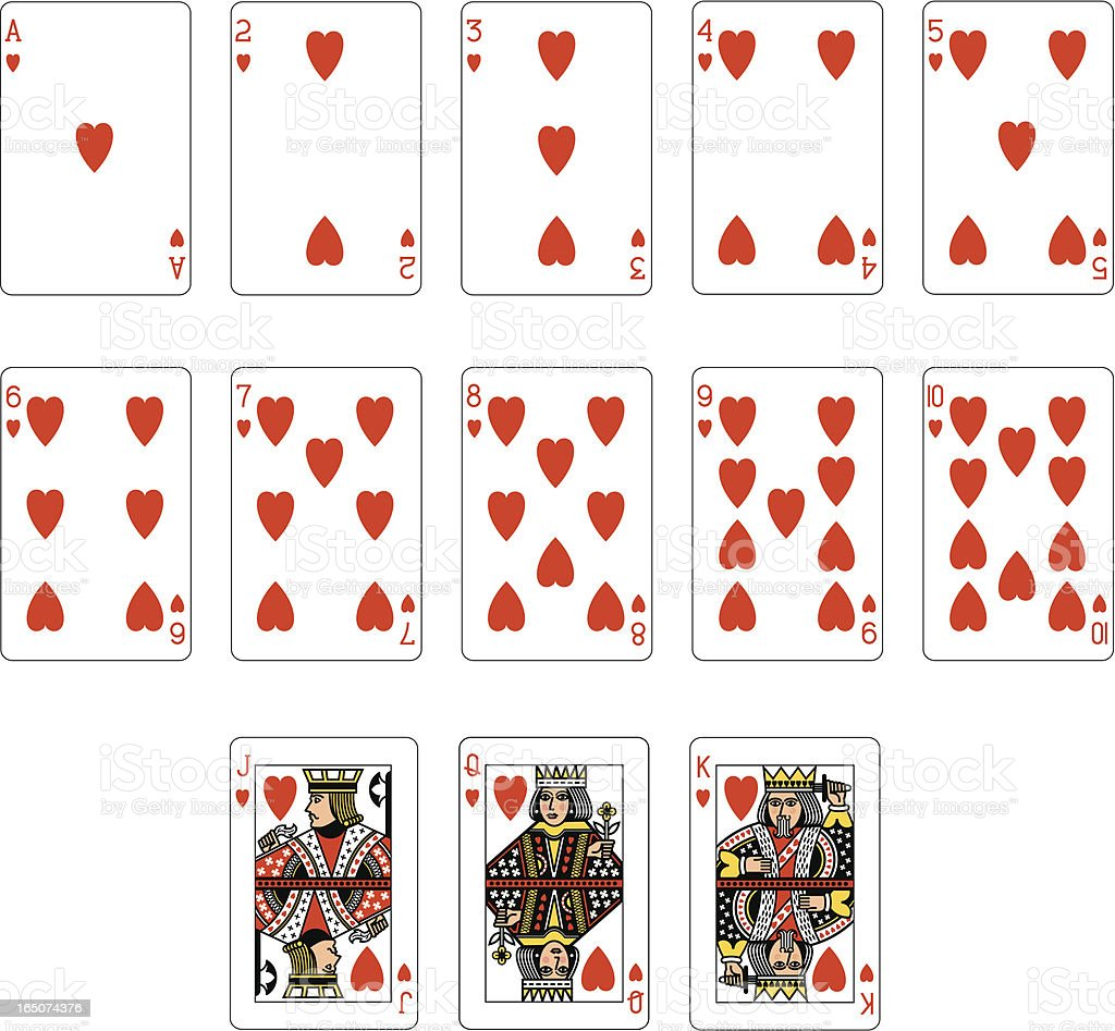 Heart Suit playing cards vector art illustration